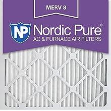 Nordic Pure 25x25x1M8-6 MERV 8 Pleated AC Furnace Air Filter , 25x25x1, Box of 6