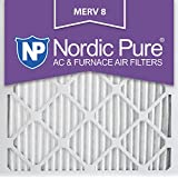 Nordic Pure 12x12x1 MERV 8 Pleated AC Furnace Air Filters, 6 Pack 12x12x1