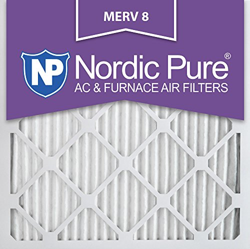Nordic Pure 24x24x1M8-6 MERV 8 Pleated AC Furnace Air Filter , 24x24x1, Box of 6