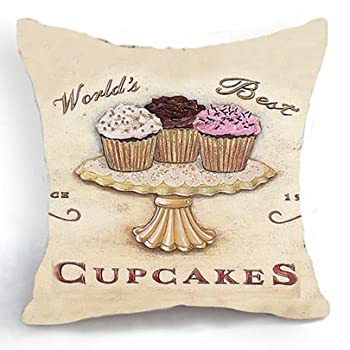 Loool 18 X 18 Inch Cotton Linen Square Cupcakes Home Decor Decorative Throw Pillow Case Cushion Cover