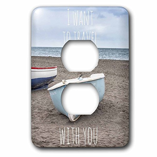 3dRose Andrea Haase Inspirational Typography - Boats At The Beach And Typography I Want To Travel The World With You - Light Switch Covers - 2 plug outlet cover (lsp_268336_6) by 3dRose