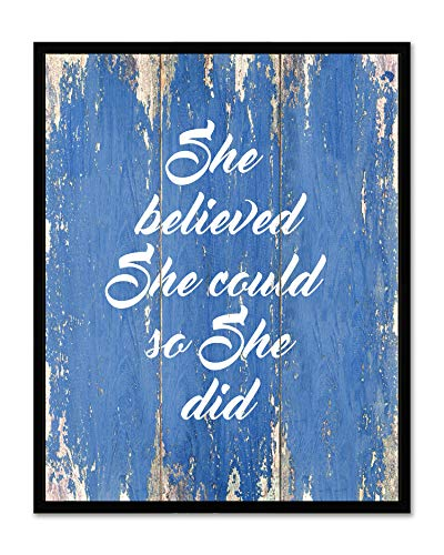 She Believed She Could So She Did - Framed - Quote Motivational Wall Art Canvas Print Home Decor, Black Real Wood Frame, Blue, 7x9