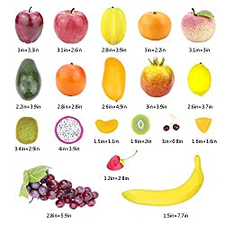 CEWOR 39pcs Artificial Fruits Lifelike Fake Fruits Various Simulation Fruits Apple Banana Cherries Mango Grape for Home Decoration