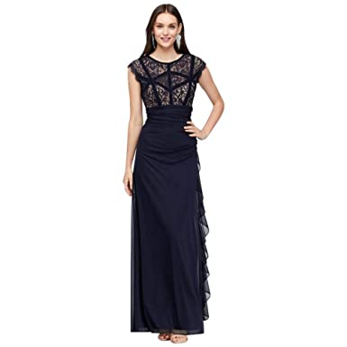 f87cb2bddf David s Bridal Velvet-Banded Lace and Chiffon Cap Sleeve Gown Style A21037