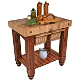 American Heritage Gathering Block II Prep Table with Butcher Block Top Base Finish: Warm Cherry Review