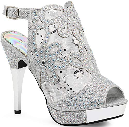 Enzo Romeo Angie15 Womens Open Toe High Heel Wedding Rhinestone Mesh Sling Back Sandal Wedge Shoes (8.5, Silver)