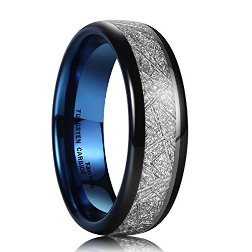King Will METEOR Unisex 7mm Black and Blue Meteorite Inlay Tungsten Carbide Ring Wedding Band Comfort Fit 8.5 (Tungsten Rings 7mm For Black Men)
