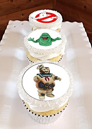 12 Edible GHOSTBUSTERS Cupcake toppers, Ghostbusters birthday, ghostbusters party]()