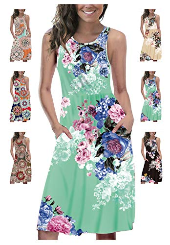 - LETSRUNWILD Women's Summer Sleeveless Racerback Loose Swing Dress Floral Print Casual Midi Dresses with Pocket Green-Small