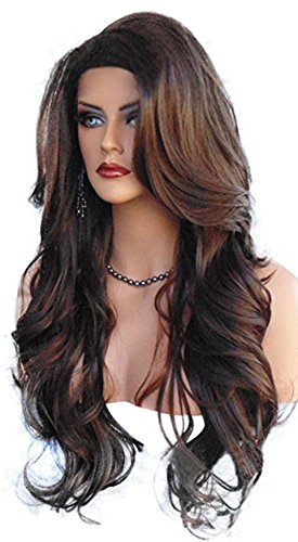 Imcolorful Long Curly Wig New Fashion Big Wavy Hair Heat Resistant Wig for Cosplay Party Costume with Free Wig Cap (Style 1) -
