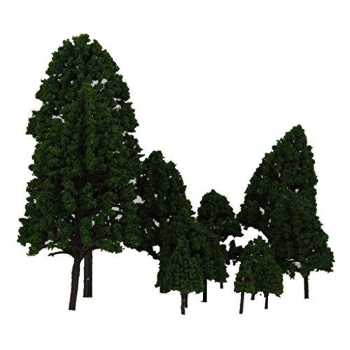 12pcs 1:50 Train Scenery Landscape Model Trees (Green) - 9