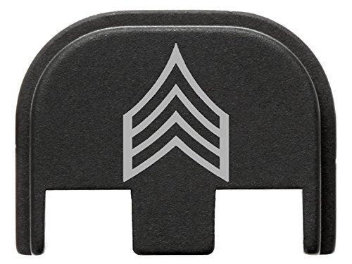 Rank Slide - for Glock Gen 5 Back Plate 9mm 17 19 19x 26 34 Black NDZ Rank Sergeant Outline
