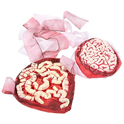 Zombie Brain (2-Pack Brain and Intestine Props for Halloween - Perfect for Zombie Outfits - Realistic Look)