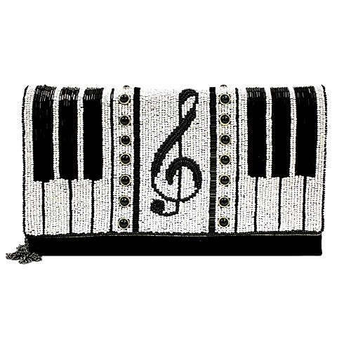 MARY FRANCES Keyed Up Beaded Piano Clutch Handbag by Mary Frances