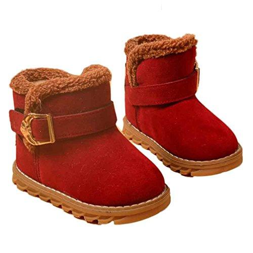 OverDose Unisex-Baby Winter Baby Kind Art Baumwoll Stiefel Warme Weiche Gummisohle Schnee Aufladungen mit Baumwolle Wein-Baumwolle