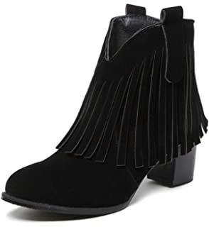 Women's Sexy Faux Suede Fringes Pointed Toe Back Zipper Block Medium Heel Ankle Booties
