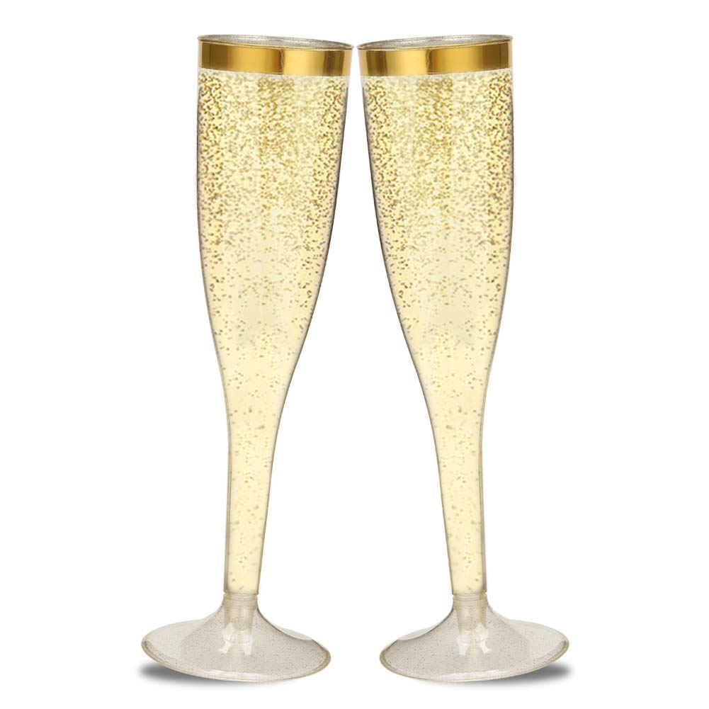 50 Gold Rimmed Gold Glitter Plastic Champagne Flutes - 5oz Disposable Wedding Toasting Wine Glasses - Party Cocktail Cups