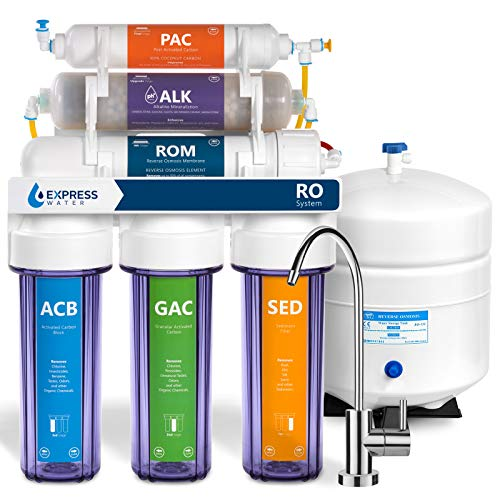 Express Water Alkaline Reverse Osmosis Filtration System - 10 Stage RO Mineralizing Water Filter - Mineral, Antioxidant, pH + - Under Sink Purifier with Remineralization - 50 GPD
