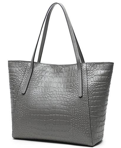 Crocodile Embossed Leather Handbag (CLELO Large Leather Tote, Crocodile Embossed Leather Purse Handbag for Women)