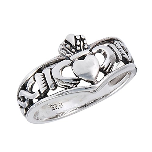 Sterling Silver Women's Friendship Claddagh Heart Ring (Sizes 1-10) (Ring Size 9) (Large Claddagh Ring)