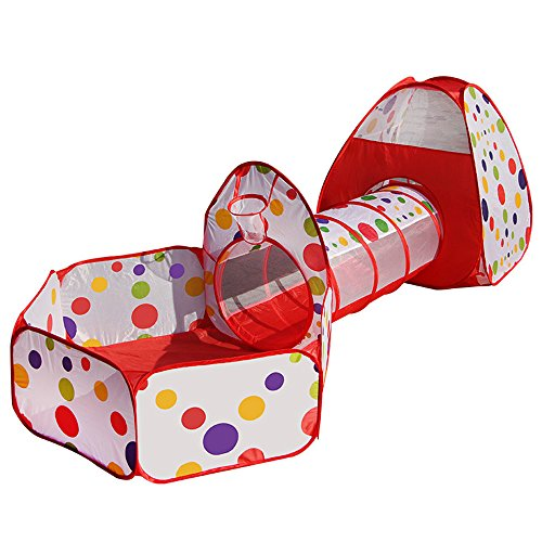 Babrit Cute Play Tent-Tunnel-Ball Pit with Basketball Hoop 3 in 1 Play House Children's Playground Toy Playpen with Tote Bag for Kid's Fun