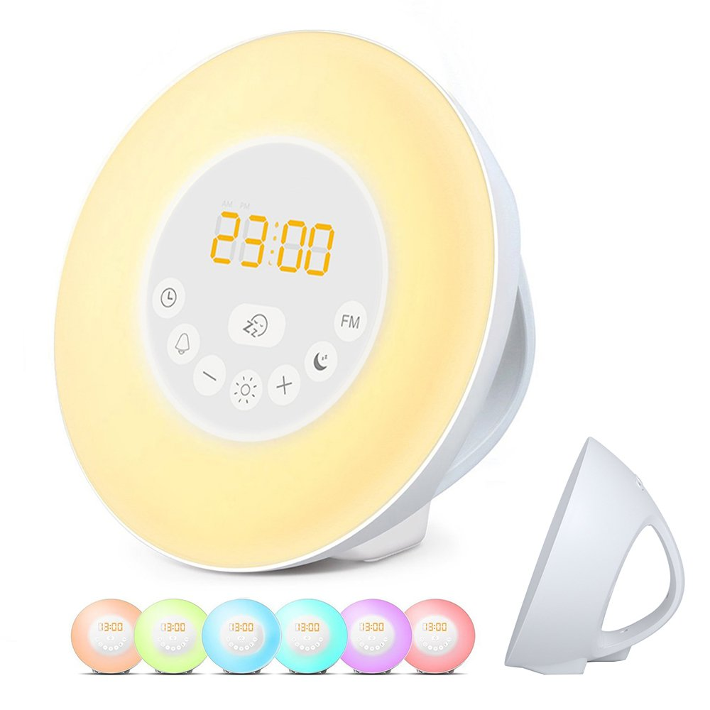 Meerveil Wake Up Light Luces despertador Radio Reloj Luz Blanca  colores
