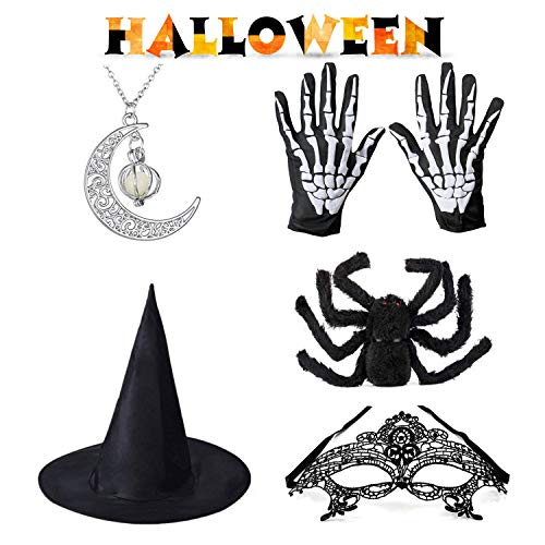 Targherler Halloween Prop Kits, Witch Hat/Glowing Necklace/Black Spider/Masquerade Mask/Skeleton Gloves