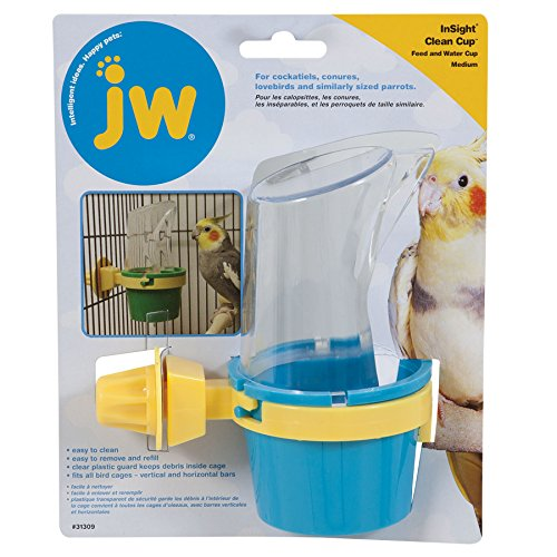 JW Pet Company Clean Cup Feeder and Water Cup Bird Accessory, Medium, Colors may vary - Inside Cage