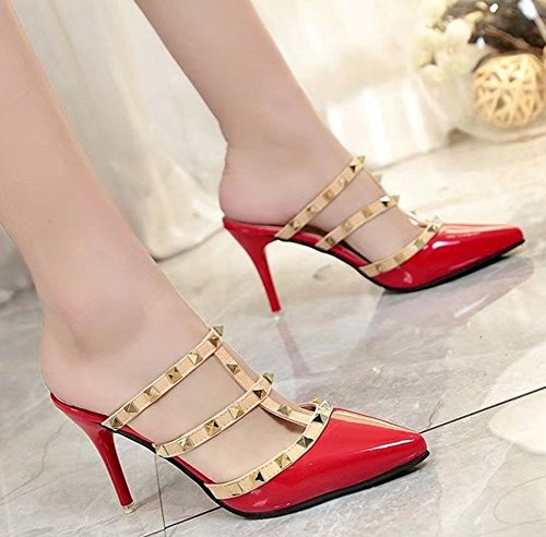 Mode T Mules on Strap Slip Femme Easemax Pointue Chaussure Rouge Aqx5IZww1