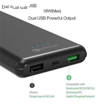 ATUOP 10000 Mah Qc3.0 Banco de energía Cargador Doble USB ...