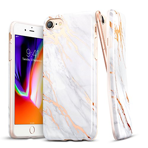 ESR iPhone 8 Case, iPhone 8 Marble Case, Slim Soft Flexible TPU Marble Pattern Cover for The iPhone 8/7(Grey Gold Sierra)