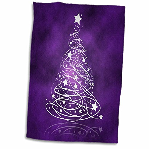 3D Rose Sparkling Christmas Tree On Purple Towel, 15