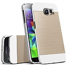 Galaxy S6 Case, OBLIQ [Slim Meta][White/Gold] Thin Bumper Fit Armor Scratch Resist Metallic Finish Dual Layered Heavy Duty Hard Protection Hybrid High Quality Case (for Samsung Galaxy S6)