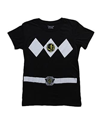 5e5e1472d88 Amazon.com  Power Rangers Black Ranger Costume Black Juniors T-Shirt Tee   Clothing