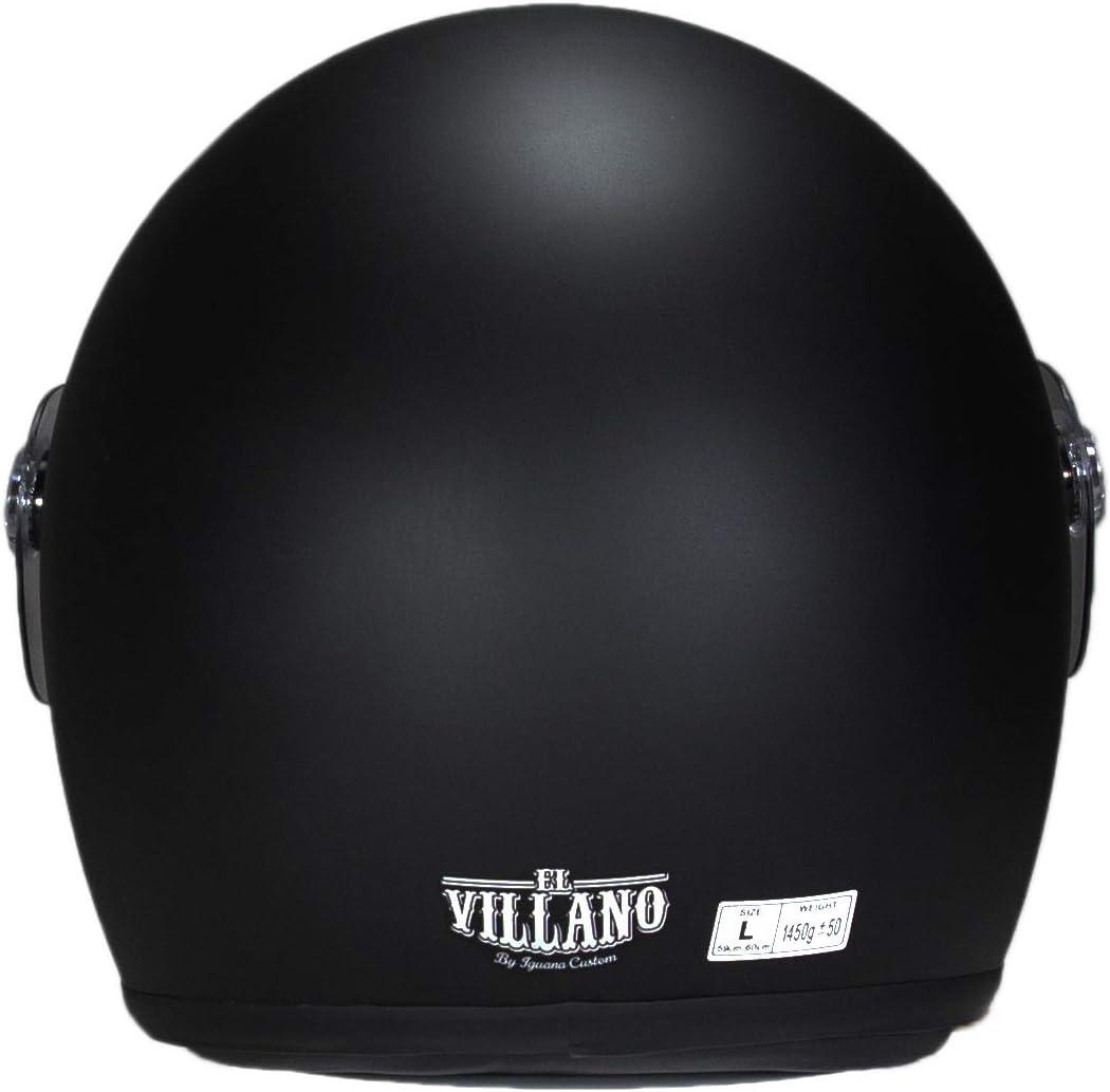 El Villano Co Von Iguana Custom Collection Schwarz Motorradhelm Im Retro Stil Perfekt Für Klassische Motorräder Cafe Racer Bobber Oder Custom Auto