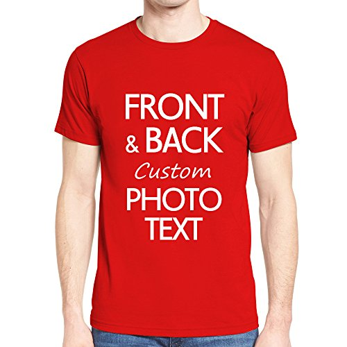 NIWAHO Customized tee Shirts Add Your Own Text Print Personalized Funny T-Shirt Gift Red