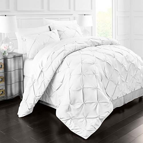 Sleep Restoration 1900 Series Pinch Pleat 3-Piece Luxury Goose Down Alternative Comforter Set - Premium Hypoallergenic All Season Pintuck Style Duvet Set - King/Cal King - White - bedroomdesign.us