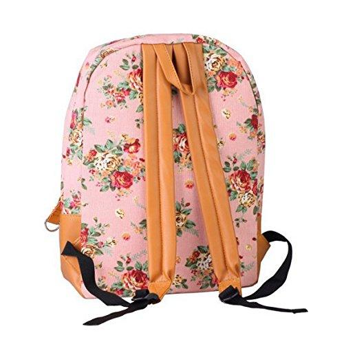 Gleader Frauen-Maedchen-Dame Segeltuch-Rucksack Vintage Blumen-Schulbuchtasche Rucksack Schultasche - rosa