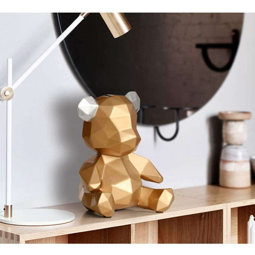 Bear Piggy Bank Piggy Bank Bear Coin Storage Bottle Creative Children Birthday Gift Home Decoration Ornaments Color : Gold