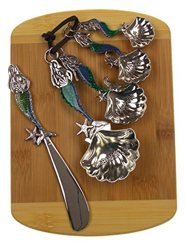 Mermaid Cheese Spreader & Measuring Spoons Bundled with Bamboo Cheese Board by Hickoryville