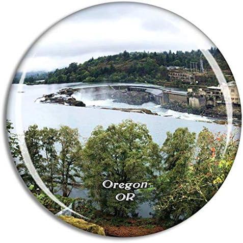 オレゴンシティウィラメットフォールズ米国冷蔵庫マグネット3Dクリスタルガラス観光都市旅行お土産コレクションギフト強い冷蔵庫ステッカー