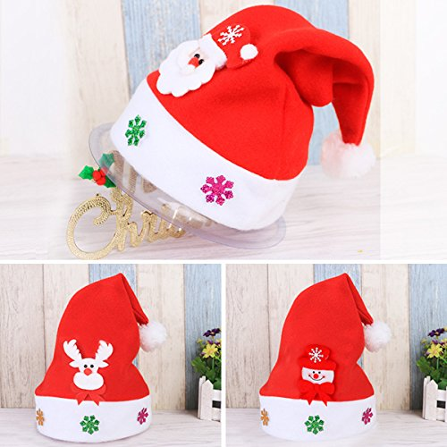 Christmas?Hats for Children, Zubita 3 Pcs Applique Santa Caps Costume Cartoon Characters Santa Snowman Bear and Wapiti Christmas Caps for Kids (Christmas Song Costumes)