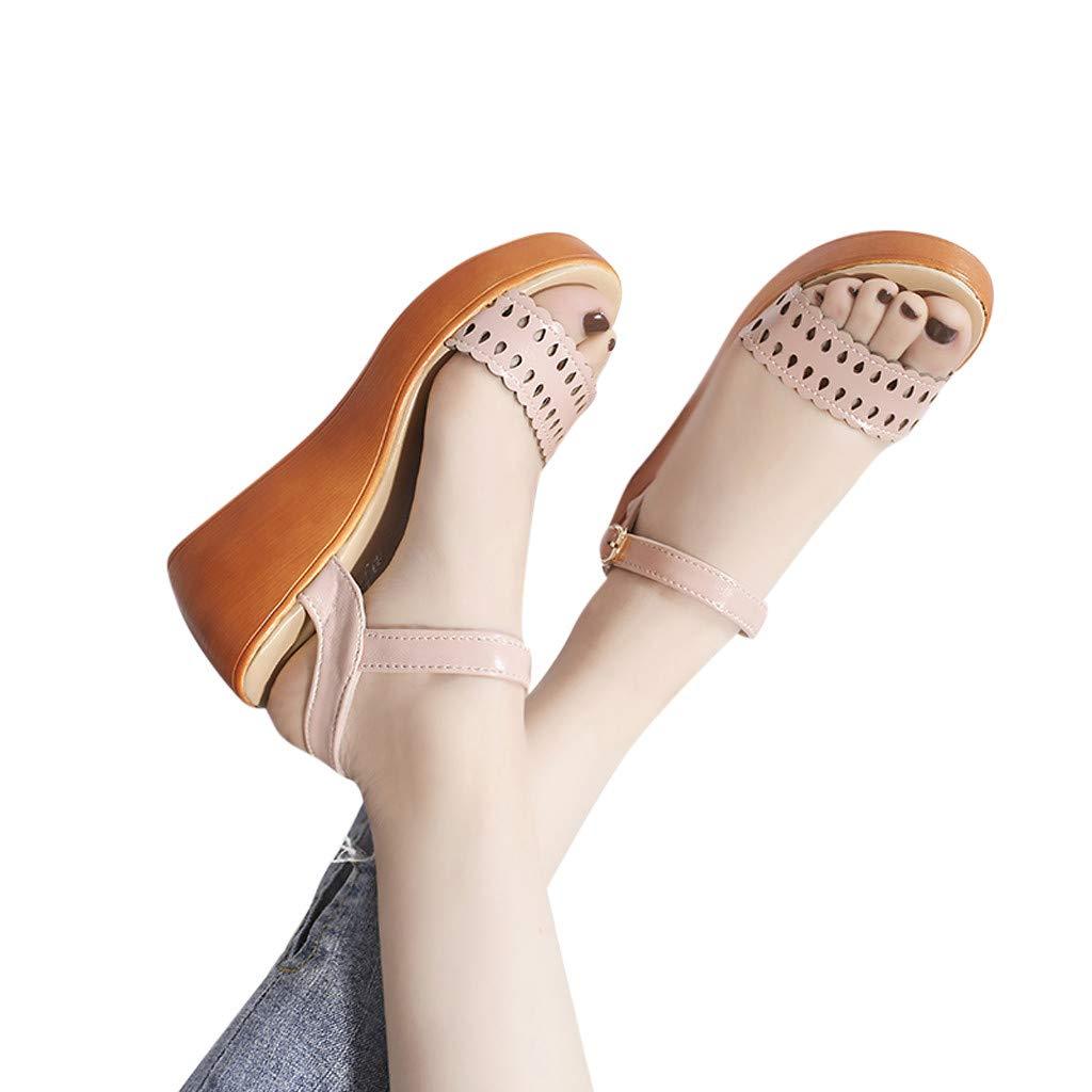 Lenfesh Sandalias cu/ña de Verano para Mujer Chancletas Zapatos de Plataforma Plana Estilo Bohemia Zapatos de Verano Playa Sandalias con Pulsera para Mujer