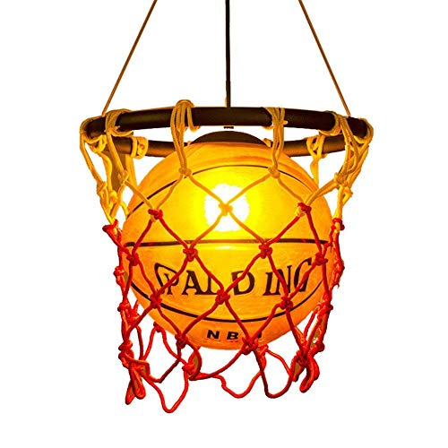 Creative Basketball Net Pendant Lamp Light Round Ball Hanging Ceiling Lighting for Children Bedroom Indoor Home Kitchen Restaurant Bar Cafe Decoration fixtures E27