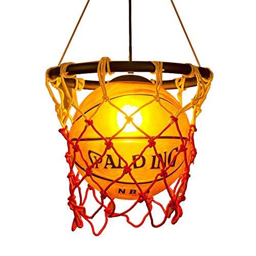 Basketball Lamp - Creative Basketball Net Pendant Lamp Light Round Ball Hanging Ceiling Lighting for Children Bedroom Indoor Home Kitchen Restaurant Bar Cafe Decoration fixtures E27