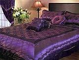 7 Pieces Vintage Satin Purple Flower Comforter Set Bed-in-a-bag Set King Size Bedding