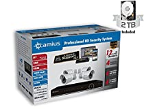 Camius 12K4B2ATCH2 HD Home Security Camera System with Hybrid 8CH DVR / Onvif IP NVR with Four (4) Analog 2MP Outdoor Security cameras, pre-installed 2TB HDD, Cables, Power supplies