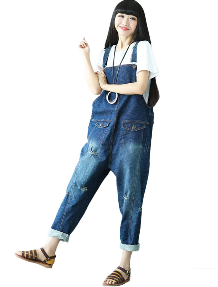 Vogstyle Women's Casual Printing Denim Jumpsuit Pants VOG3020-Blue-1
