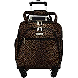 Chocolate New York Spinner Under Seater Luggage, 18 Inches - Leopard Brown (753)