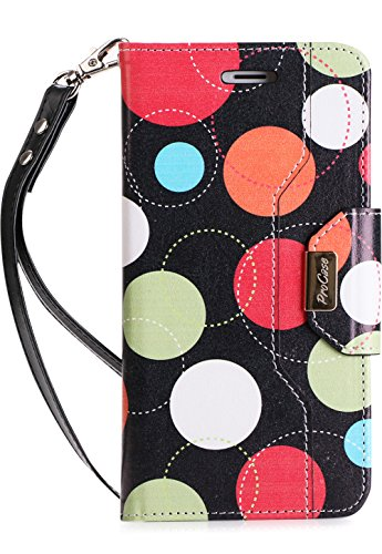 ProCase iPhone 8 Plus/7 Plus Wallet Case, Flip Fold Card Case Stylish Stand Cover with Wallet Case for Apple iPhone 8 Plus/iPhone 7 Plus -Circles